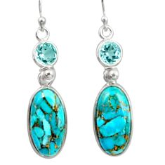 15.25cts blue copper turquoise topaz 925 sterling silver dangle earrings r41124
