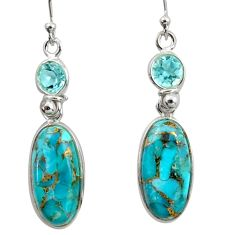 14.70cts blue copper turquoise topaz 925 sterling silver dangle earrings r41127