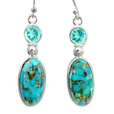 15.34cts blue copper turquoise topaz 925 sterling silver dangle earrings r41128