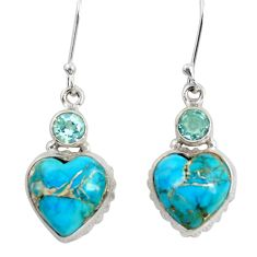 Clearance Sale- 18.68cts blue copper turquoise topaz 925 sterling silver heart earrings d39509