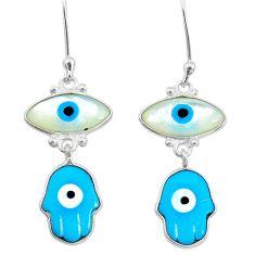 6.92cts blue evil eye talismans 925 silver hand of god hamsa earrings t20546