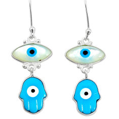 6.78cts blue evil eye talismans 925 silver hand of god hamsa earrings t20548