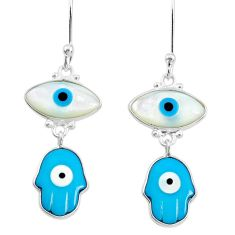 6.92cts blue evil eye talismans 925 silver hand of god hamsa earrings t20550