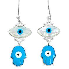 6.94cts blue evil eye talismans 925 silver hand of god hamsa earrings t20554
