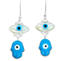 6.97cts blue evil eye talismans 925 silver hand of god hamsa earrings t20558