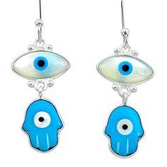 7.53cts blue evil eye talismans 925 sterling silver dangle earrings t20641