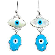 6.92cts blue evil eye talismans 925 sterling silver earrings jewelry t20822