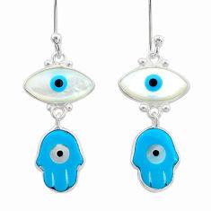 7.53cts blue evil eye talismans 925 sterling silver earrings jewelry t21185