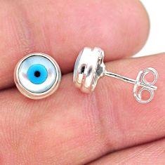 4.48cts blue evil eye talismans 925 sterling silver stud earrings jewelry t21296