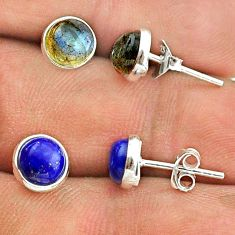 4.66cts blue labradorite lapis lazuli 925 silver 2 pair studs earrings t50831