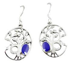 Blue lapis enamel 925 sterling silver tree of life earrings jewelry c11672