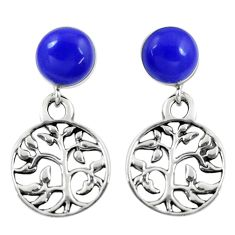 4.53cts blue lapis lazuli 925 silver tree of life earrings jewelry c11702