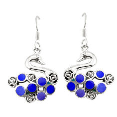 Blue lapis lazuli enamel 925 silver dangle earrings jewelry c11783