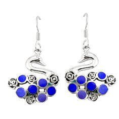 Blue lapis lazuli enamel 925 silver dangle earrings jewelry c12596