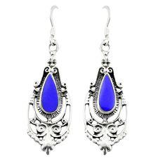Blue lapis lazuli enamel 925 sterling silver dangle earrings c11832