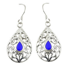 Blue lapis lazuli enamel 925 sterling silver dangle earrings jewelry c11733