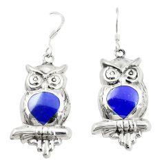 Blue lapis lazuli enamel 925 sterling silver owl earrings jewelry c11582