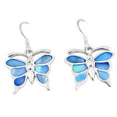 Blue pearl enamel 925 sterling silver butterfly earrings jewelry a55579 c14328