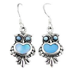 Blue pearl enamel 925 sterling silver owl earrings jewelry a55578 c14360