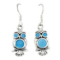 Blue pearl enamel 925 sterling silver owl earrings jewelry c22183