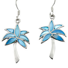 4.69gms blue pearl enamel 925 sterling silver palm tree earrings jewelry c26365