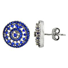 4.40cts blue sapphire (lab) 925 sterling silver stud earrings jewelry c9605