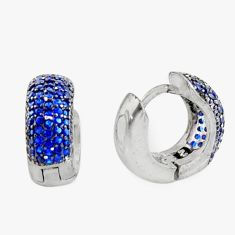 4.03cts blue sapphire (lab) round 925 sterling silver earrings jewelry c9953