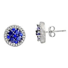 3.98cts blue sapphire (lab) topaz 925 sterling silver earrings jewelry c9305