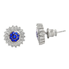 4.80cts blue sapphire (lab) topaz 925 sterling silver earrings jewelry c9311