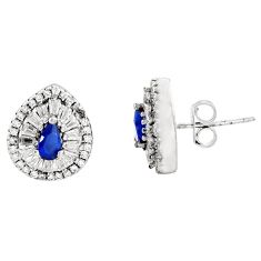 5.64cts blue sapphire (lab) topaz 925 sterling silver earrings jewelry c9315