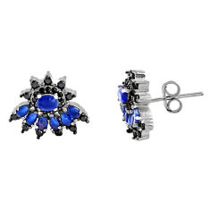 5.11cts blue sapphire (lab) topaz 925 sterling silver stud earrings c9218