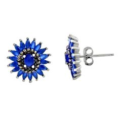 4.18cts blue sapphire (lab) topaz 925 sterling silver stud earrings c9226