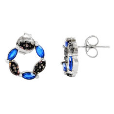 2.82cts blue sapphire (lab) topaz 925 sterling silver stud earrings c9233