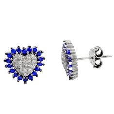 4.43cts blue sapphire (lab) topaz 925 sterling silver stud earrings c9239