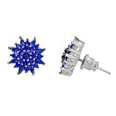 5.28cts blue sapphire (lab) topaz 925 sterling silver stud earrings c9242