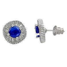 8.77cts blue sapphire (lab) topaz 925 sterling silver stud earrings c9248