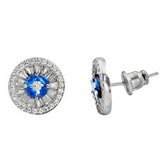 4.52cts blue sapphire (lab) topaz 925 sterling silver stud earrings c9256