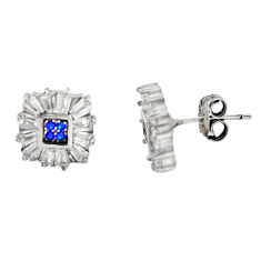 5.24cts blue sapphire (lab) topaz 925 sterling silver stud earrings c9267