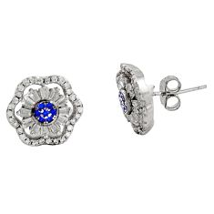 5.54cts blue sapphire (lab) topaz 925 sterling silver stud earrings c9273