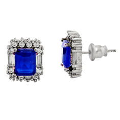 8.42cts blue sapphire (lab) topaz 925 sterling silver stud earrings c9278