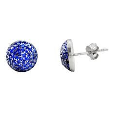 3.32cts blue sapphire (lab) topaz 925 sterling silver stud earrings c9289