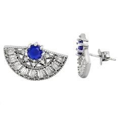 6.57cts blue sapphire (lab) topaz 925 sterling silver stud earrings c9341
