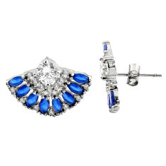 7.11cts blue sapphire (lab) topaz 925 sterling silver stud earrings c9359