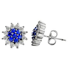 3.87cts blue sapphire (lab) topaz 925 sterling silver stud earrings c9466