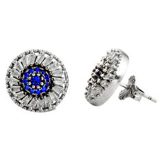 7.33cts blue sapphire (lab) topaz 925 sterling silver stud earrings c9473