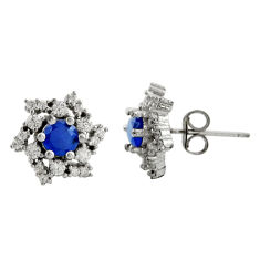 3.91cts blue sapphire (lab) topaz 925 sterling silver stud earrings c9483