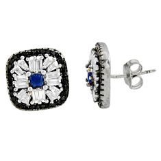 5.81cts blue sapphire (lab) topaz 925 sterling silver stud earrings c9497