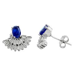4.18cts blue sapphire (lab) topaz 925 sterling silver stud earrings c9507