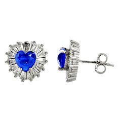 6.04cts blue sapphire (lab) topaz 925 sterling silver stud earrings c9522