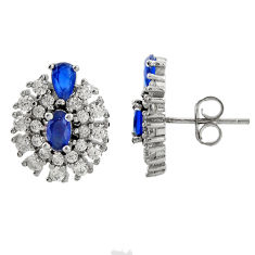 4.67cts blue sapphire (lab) topaz 925 sterling silver stud earrings c9549